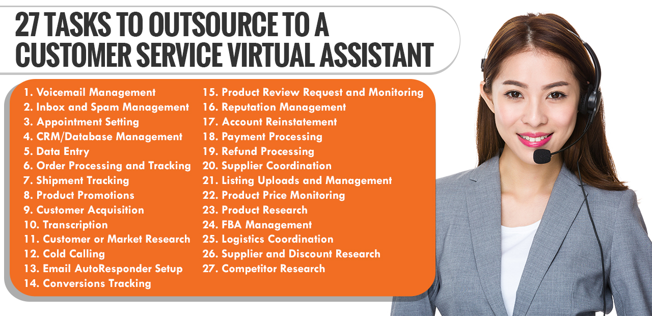 Here are 27 other tasks that you can outsource to your customer service virtual assistant: