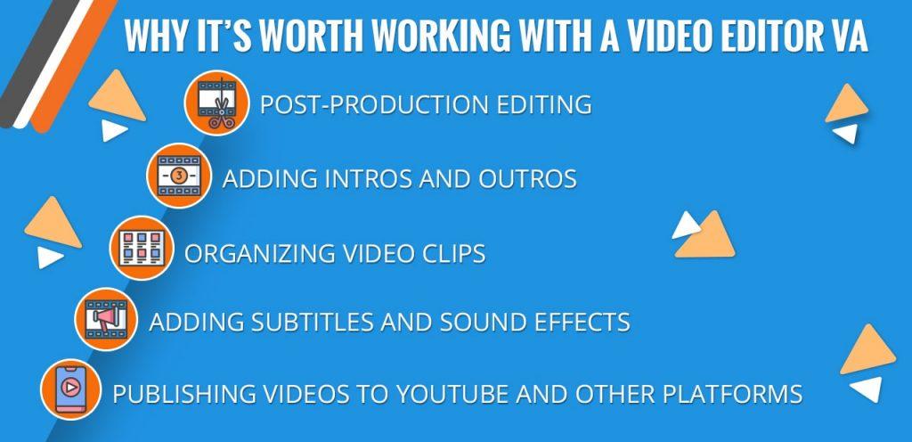 Video editor virtual assistant tasks