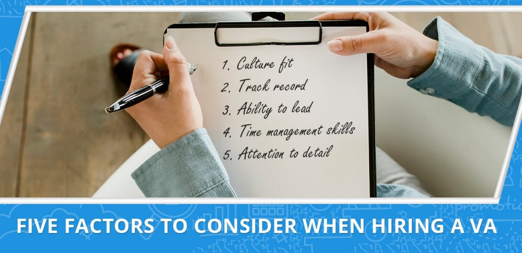 Five factors to consider when hiring a virtual assistant