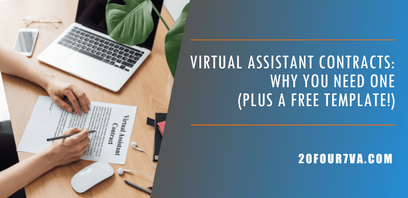 Blog header image for the article Virtual Assistant Contracts Why You Need One Plus a Free Template by 20four7VA.com