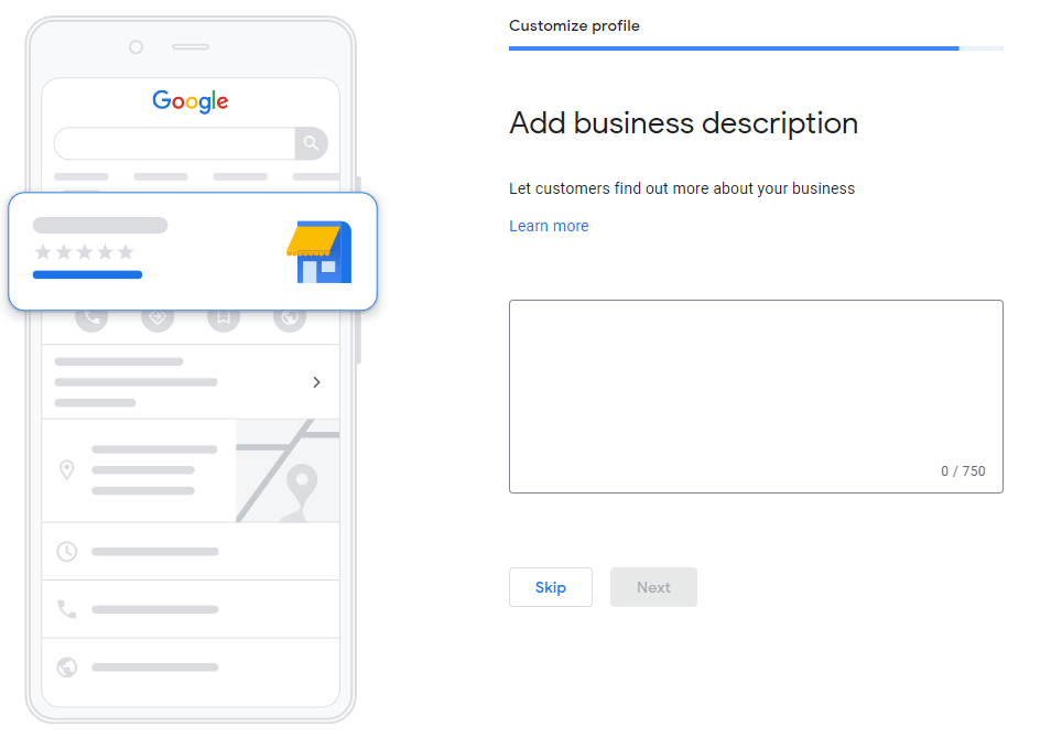 an image showing how to add a business description on GMB