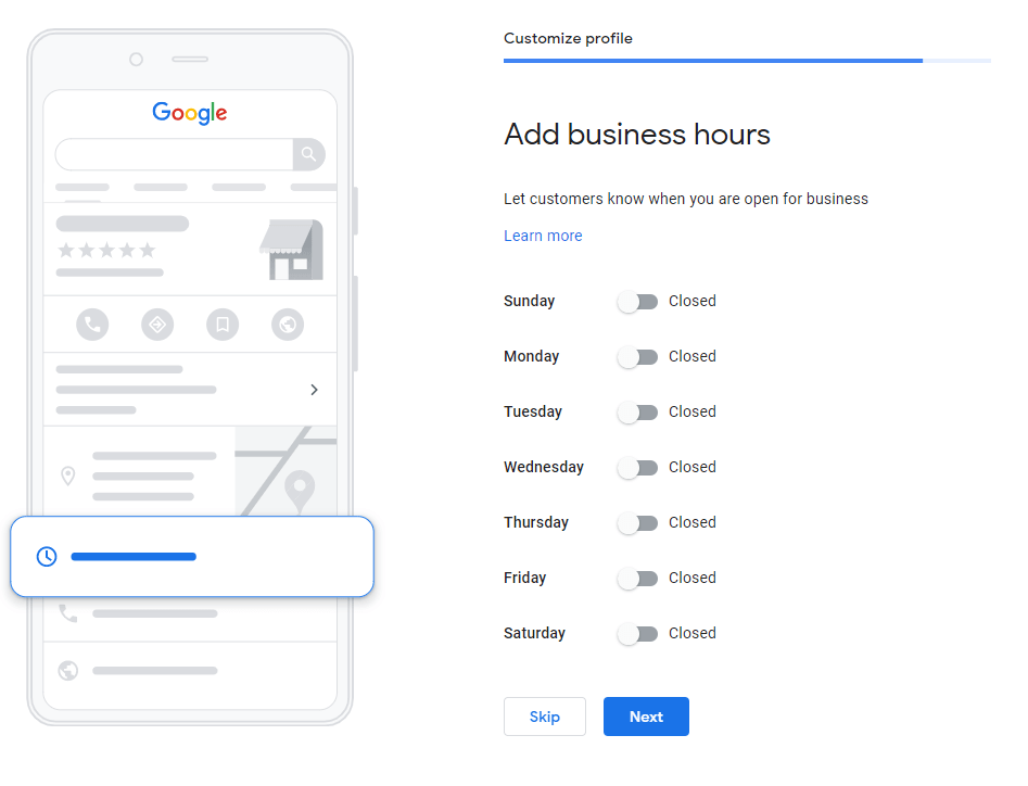 an image showing how to add business hours on GMB