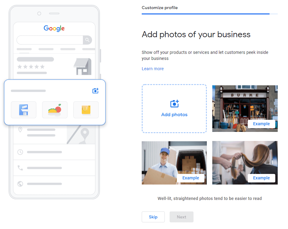 an image showing to add business photos on GMB