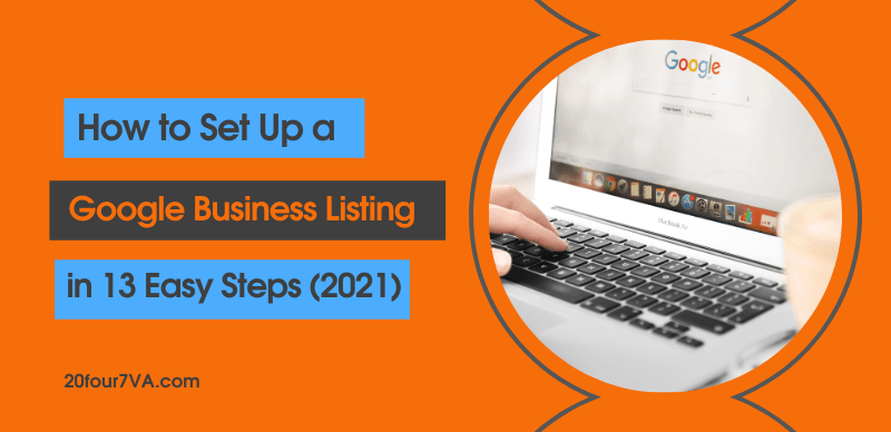 blog header image for an article called how to set up a google business listing in 13 easy steps