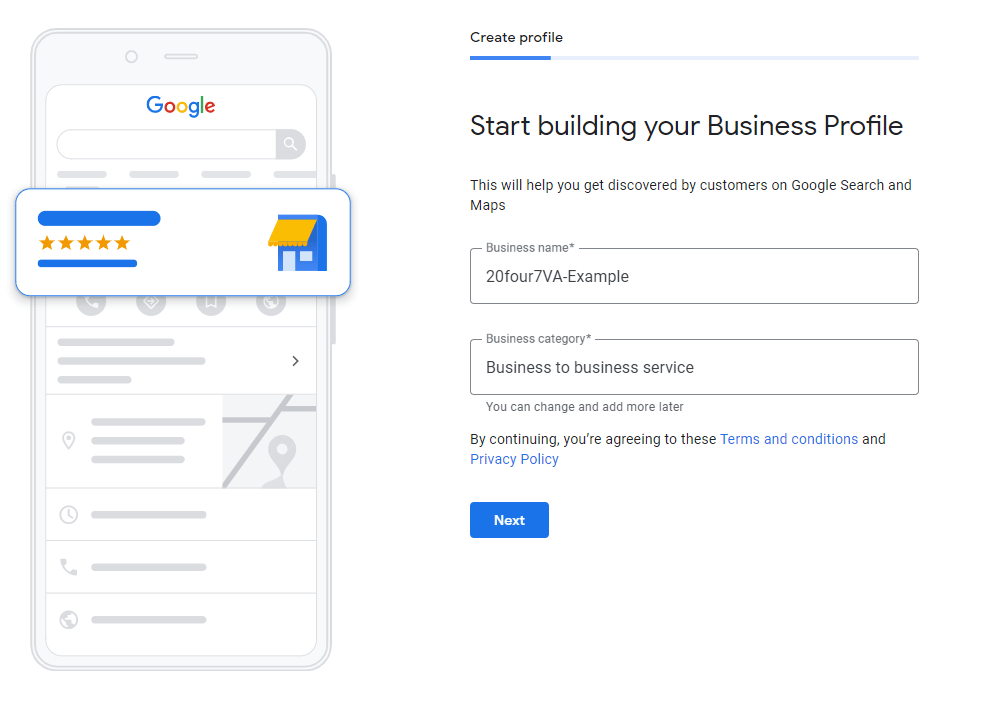 image showing how to create a business profile on Google My Business - 20four7VA.com
