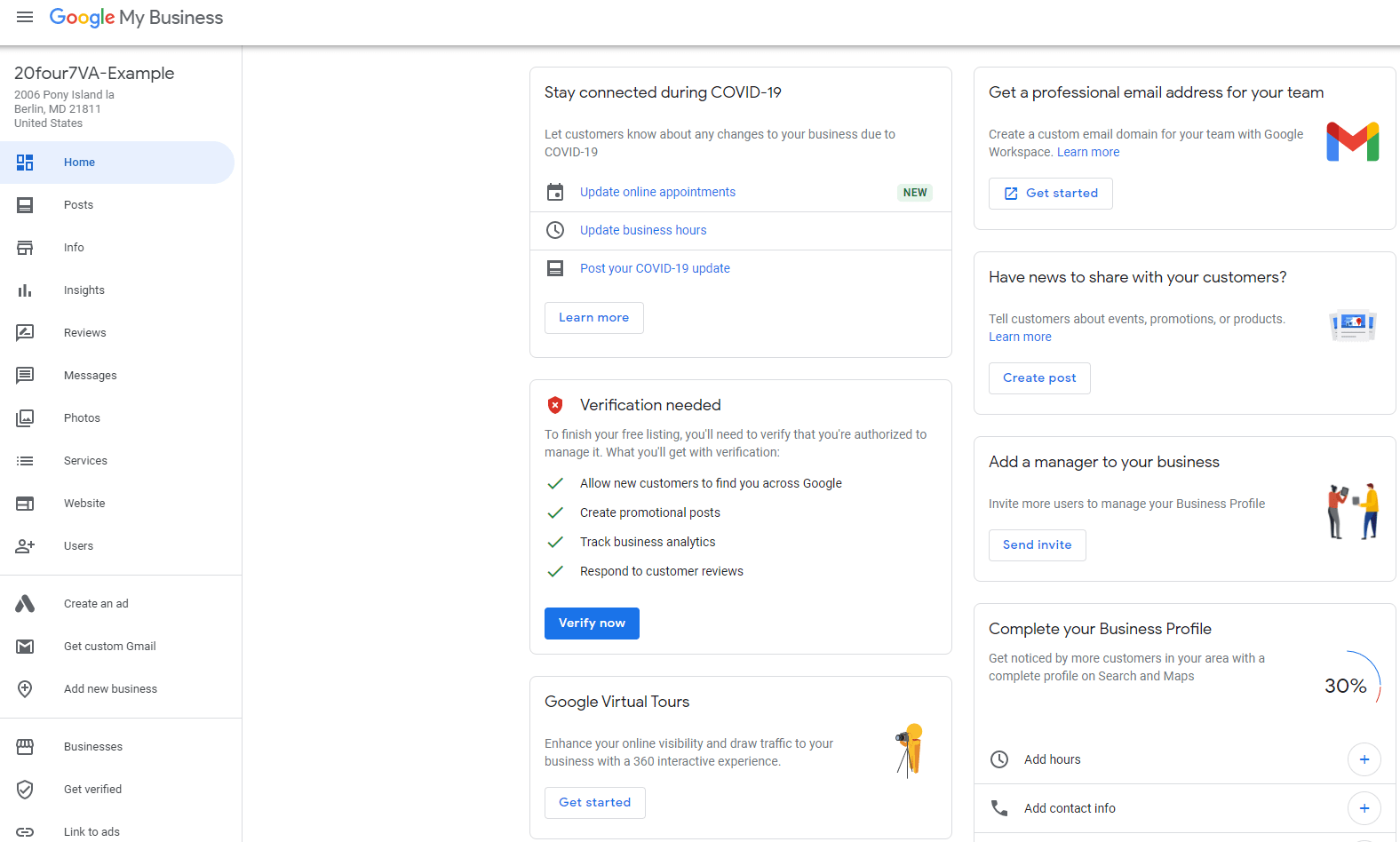 an image showing the Google Business listing dashboard