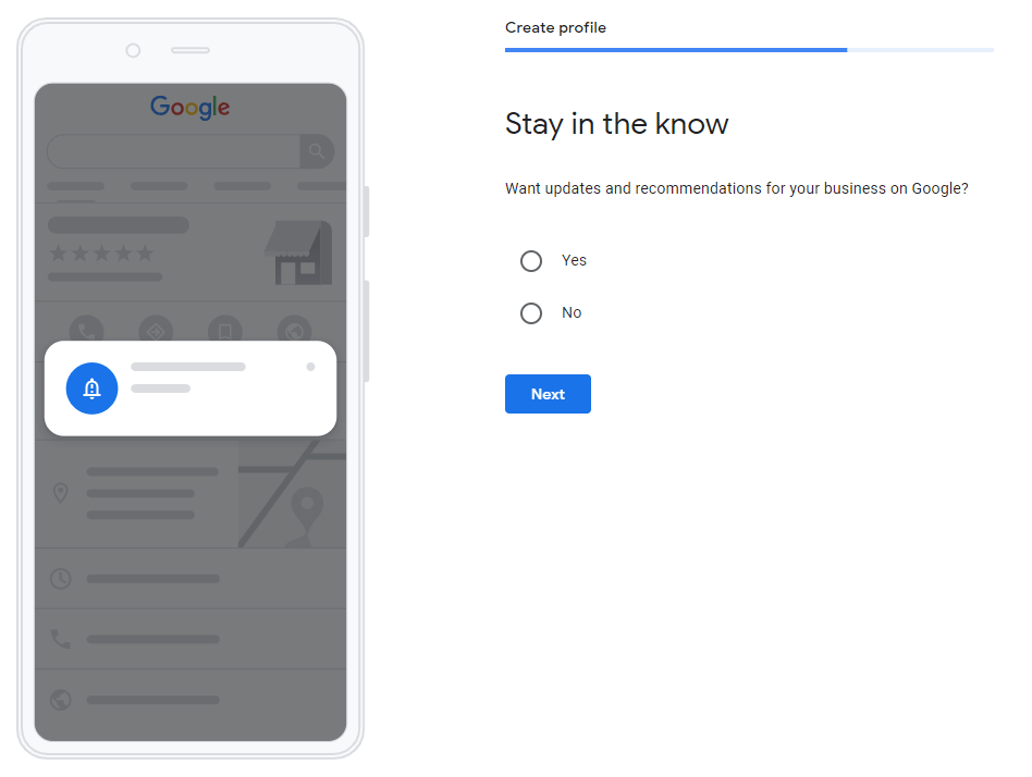 an image that shows the option to accept updates and recommendations from Google