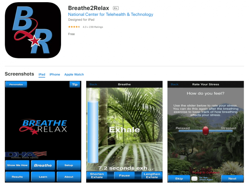 an image of the Breathe2Relax app on the App Store