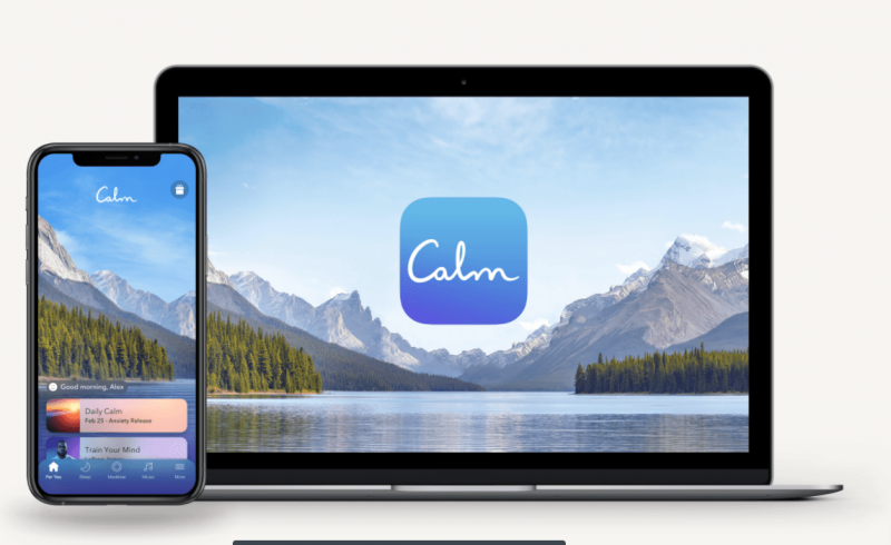 an image showing the Calm app on mobile and laptop