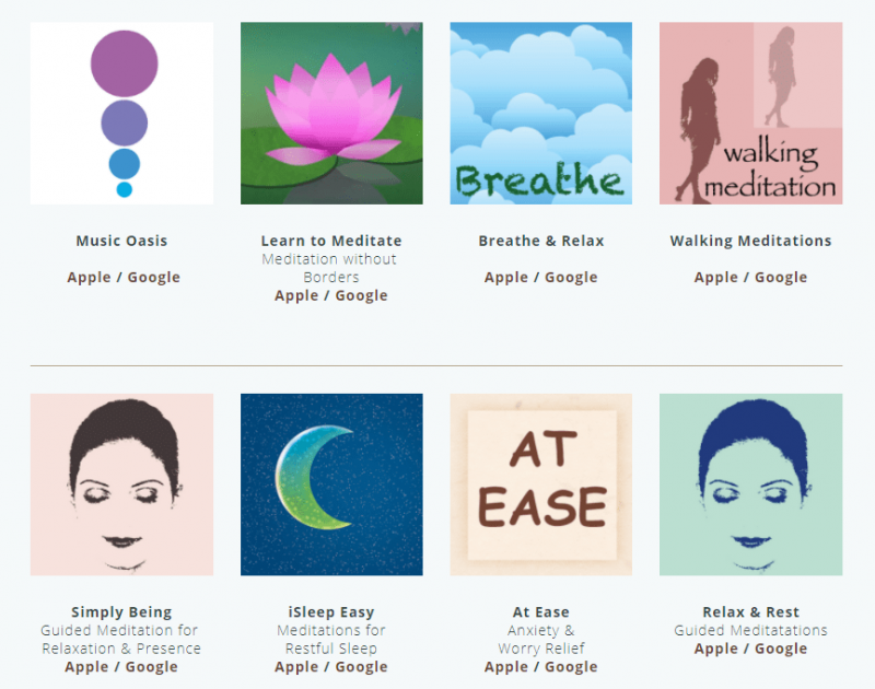 an image showing the many apps available for download at the Meditation Oasis website