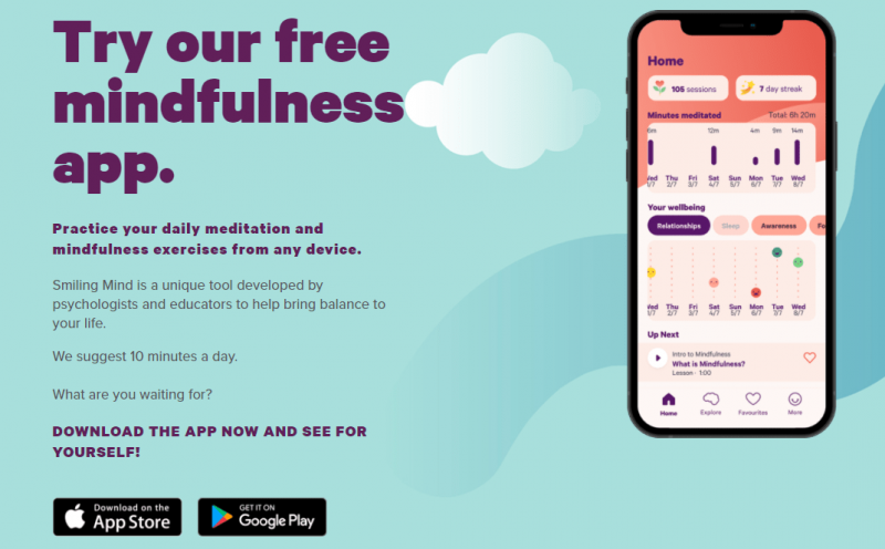 an image that shows the Smiling Mind App page