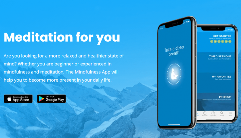 an image showing the download page of the mindfulness app